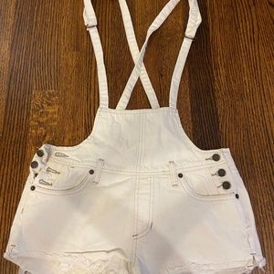 Free People Shorts - Free People White Jean Overall Shorts